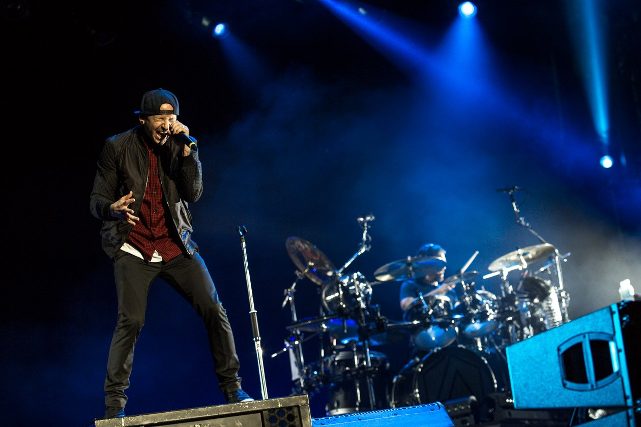 Linkin Park – Headliner am Samstag in Scheeßel. – Chester und Drummer Rob Bourdon.