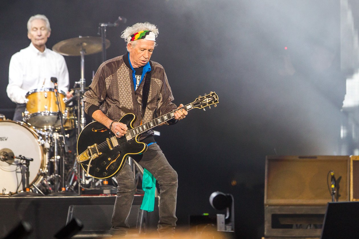 "Rolling Stones – Mick Jagger, Keith Richards, Charlie Watts und Ron Wood zum Auftakt der ""No Filter""-Europatour in Hamburg. – Charlie und Keith."