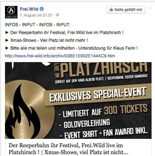 Freiwild Reeperbahn Festival Fürchtet Imageschaden Lautde News